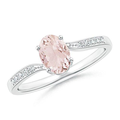 Angara.com  -  Gold 14 Karat (585)  14 Karat (585) Weißgold Ovalschliff   Leicht getöntes Weiß/Crystal (J) Diamant Morganite