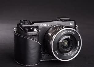 Genuine real COW leather case bag cover for SONY NEX6 NEX-6 Camera half case black color