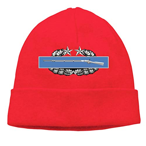 Combat Infantry Badge (CIB) 3rd Award Badge Unisex Skull Cap Knit Hat Set Head Cap Red