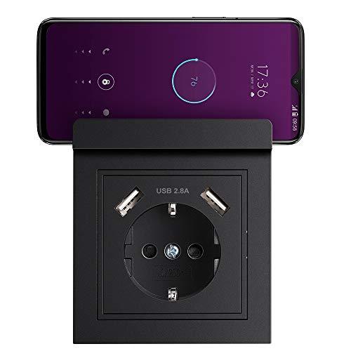 USB Enchufe con Soporte para Teléfono Móvil, Schuko Enchufe de pared con USB 2.8A Toma Corriente pared Enchufe Negro para Cocina, Dormitorio, Oficina, Hotel, etc