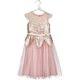 Disney Boutique Collection Girls Tinker Bell Rose Gold Sequin Dress Age 5-6 Years
