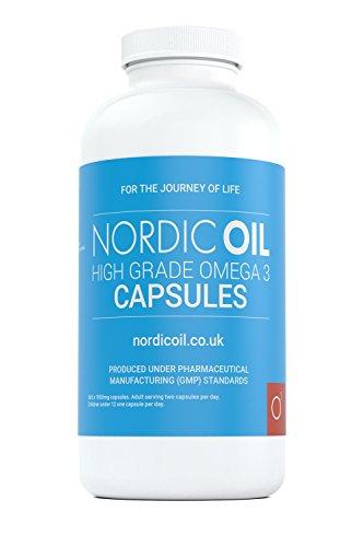 Nordic Oil High Strength Pharmaceutical Grade Omega 3 Fish Oil Capsules, 1000 mg, Pot of 365 Capsules