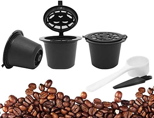 3PCS/Set Reusable Refillable Nespresso Coffee Capsule with Plastic Spoon Filter Pod and Brush 20ML Filters Kitchen Dining Bar by Koksi