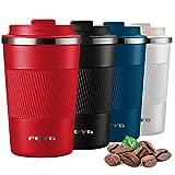 Termo cafe 380ml, FEYG Taza termo cafe para llevar de Acero Inoxidable, Termos pequeños para 100% cafe a Prueba de Fugas para Bebidas Frías y Calientes Bebidas té Café Agua