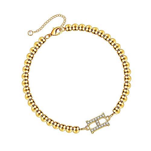 Initial Bracelets for Women, 14K Gold Plated Dainty Cubic Zirconia Bead Initial Bracelets Personalized Letter Beaded Initial Bracelets for Women Girls Jewelry Gifts