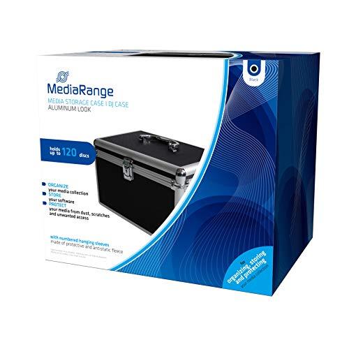 MediaRange Archivierungskoffer für 120 Discs, Aluminium-Optik, mit Einhängetaschen, schwarz