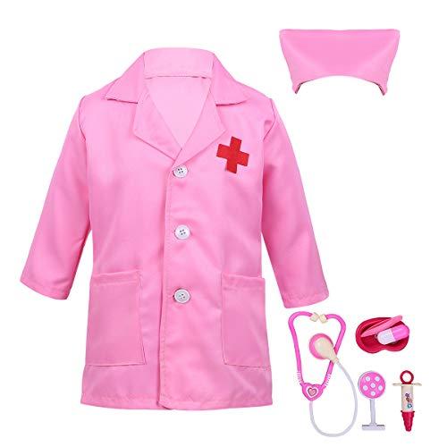 MSemis Disfraz de Médico para Niños Niñas Unisex Traje Enfermera Abrigo de Doctor Gorro Accesorios Niños Fiesta Cosplay Día Juego de rol Doctora Dentista