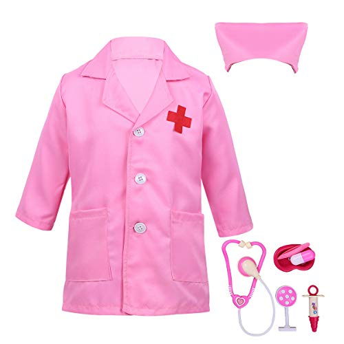 Freebily Niños Niñas Disfraz Bata Blanca/Rosa Manga Larga de Doctor/Enfermera Traje Cosplay para Halloween con Accesorios(Estetoscopio+Jeringa etc.) Rosa 5-6 años