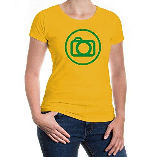Girlie T-Shirt Kamera-Piktogramm-XL-Sunflower-Green