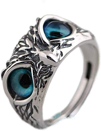 Demon Eye Owl Ring, Real 925 Sterling Silver Animal Ring Fashion Open Adjustable Ring For Women And Men