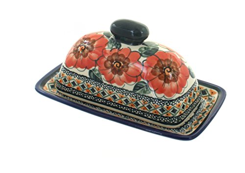 Blue Rose Polish Pottery Peach Floral Butter Dish