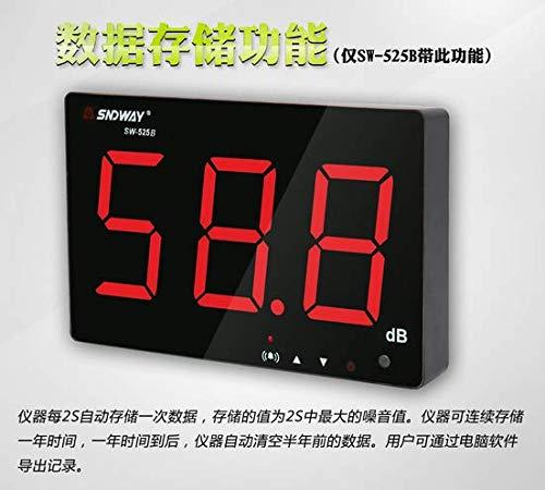 SNDWAY - Medidor de ruido digital (pantalla LCD, USB, 30-130 dB, 210 x 130 x 28 mm), color negro