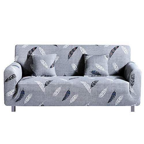 HEYOMART Sofabezug aus hochelastischem Stoff, 1-, 2-, 3-Sitzer-Sofa-Schonbezug, Stuhl, Loveseat, Couchbezug, Polyester-Spandex, Möbelschutz (2-Sitzer, Muster #Feder)