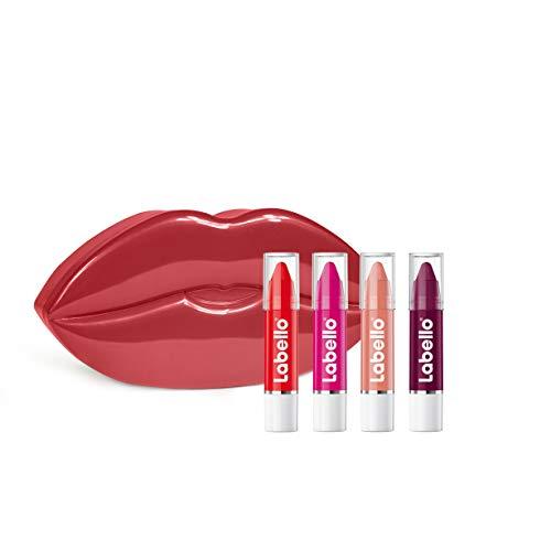 Labello Lippenpflege Set bestehend aus Lips2kiss Hot Pink, Poppy Red, Rosy Nude und Black Cherry, Geschenk-Box in der Form von Lippen, (4 x 3,3 ml)