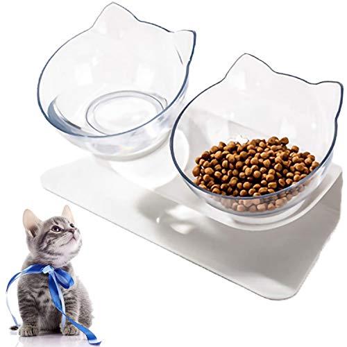 VieVogue Ciotola per Gatti con Supporto Rialzato Cibo e Acqua Trasparente Inclinata Antiscivolo 15°Animali Rimovibile Cani di Piccola Taglia (Double Bowls)