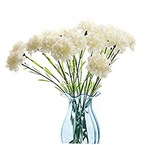 20 inch Bouquets 10 Stem Rainbow Carnations,Outdoor UV Resistant No Fade Artificial Flower,Carnation Silk Petals Fake Flowers Forever Plants for Photo Props Home Party and Wedding Decor (White)