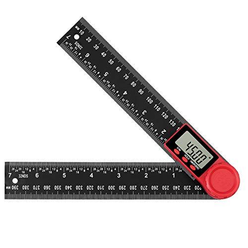 AUTOUTLET Medidor de Ángulos Digital, 200mm Transportador de Ángulos, LCD Digital Regla Buscador de Ángulos 360°, con Función de Bloqueo, para Educación Carpintería Construcción Reparación