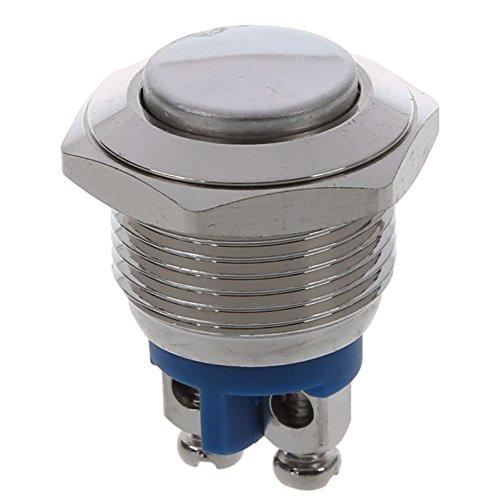SODIAL(R) Normalmente aperto NO N / O 16mm Interruttore a pulsante pneumatico rotondo in metallo AC 250V 3A