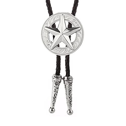 Wuyuana Bolo Tie Western Cowboy Bolo Tie Cinco Puninted Star Aleación de Zinc Collar de Cuero Cuerda de Fiesta de Cumpleaños Regalo de Boda Bolo Tie Tips (Color: Blanco)