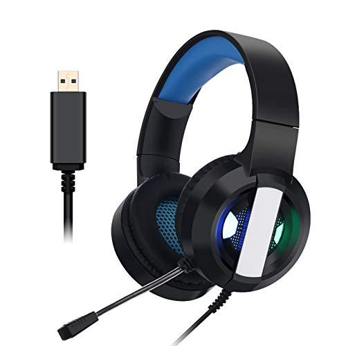 SUN JUNWEI Auriculares de Juego PS4 con 7.1 Sonido Envolvente Auriculares estéreo con cancelación de ruidopara PC, Mac, Xbox One, PS4 y Switch,Azul