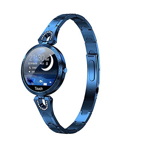 BZYZ Reloj Inteligente Femenino de Pantalla táctil Completa de 1,08 Pulgadas, podómetro Impermeable ip67, Reloj con Monitor de sueño, Reloj Inteligente para teléfonos Android e iOS (Azul)(D)