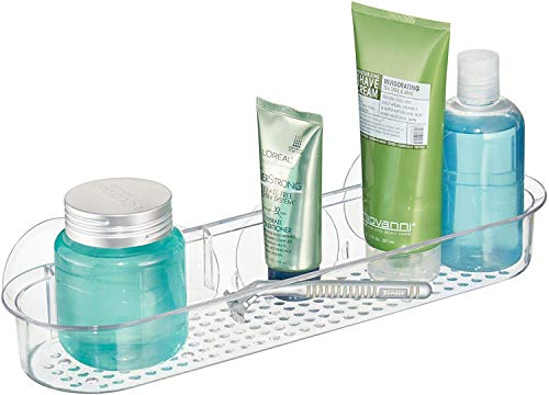 InterDesign Basic etagere de douche sans percer, long panier de douche ventouse en plastique, transparent