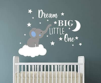 Dream Big Little One Elephant Wall Decal, Quote Wall Stickers, Baby Room Wall Decor, Vinyl Wall Decals for Children Baby Kids Boy Girl Bedroom Nursery Decor Y42 (Blue,White(Boy))