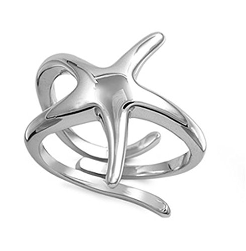 Sterling Silver Women's Unique Starfish Ring Polished 925 Band 21mm Size 8
