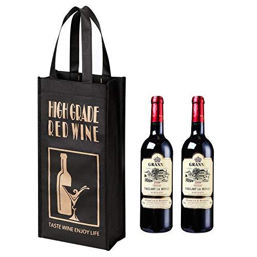 Geschenktasche 10 Stück Weintüte für 2 Flaschen Tragbarerer Weinbeutel Recycelbare Flaschentüte Wein Sekt Champagner Verpackung Tragetasche Vliesstoffe Geschenktüte für Hochzeit Party Festival