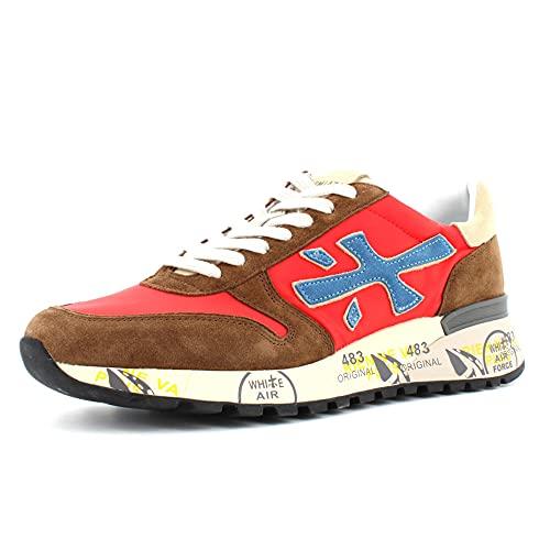 Sneakers Hombre PREMIATA Mick 5193 Gamuza Tejido Rojo Marron