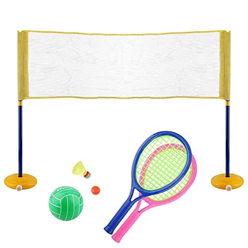 QuRRong Giocattoli da Badminton per Bambini Bambini Badminton Set con 2 Racchette Plastic Tennis Ball Shuttlecock Volleyball e Net Kit per Bambini Beach Gioco Giocattolo Regalo per Interni ed Esterni