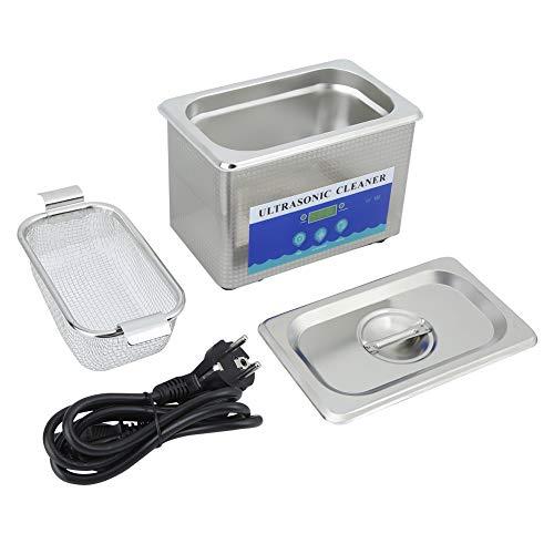 Ejoyous Limpiador Ultrasónico, Limpiador Ultrasónico de Acero Inoxidable de 800 Ml, Máquina de Limpieza de Joyas para Relojes Domésticos Enchufe Europeo de 220 V