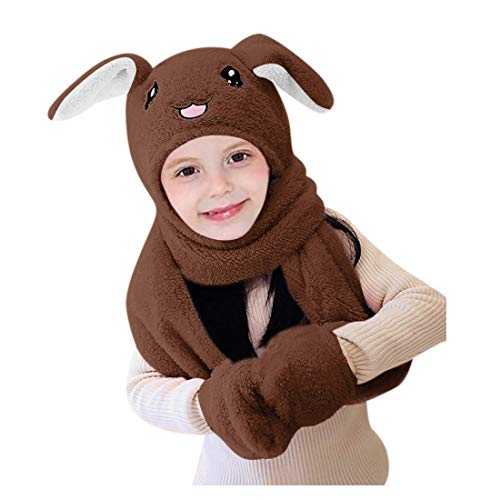 jiumoji Cute 3 in 1 Kids Hat Glove Scarf Winter Warm Set Can Move Airbag Magnet Cap Plush Dance Rabbit Ear (-Coffee, One Size)