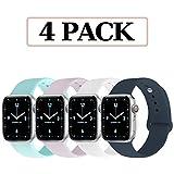 Qunbor Armband Kompatibel Für Apple Watch 38mm 40mm 42mm 44mm, 4er-Set, Ersatz für Weiches Silikon...