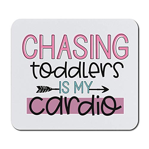 Mother's Day Mouse Pad Mom Chasing Toddlers is My Cardio Pink Neoprene Office Supplies & Gaming Computer Desk Accessories Square Shape Design Only