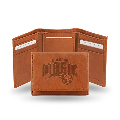 Rico Industries NBA Orlando Magic Embossed Leather Trifold Wallet, Tan