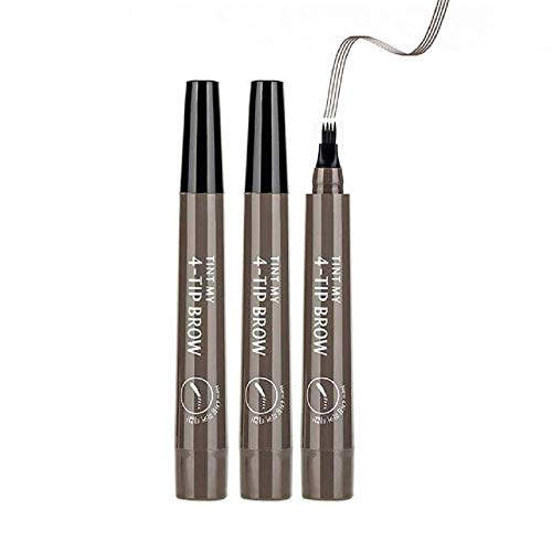 4 Tip Liquid Eyebrow Pencil,Professional Makeup Fill & Fluff Eyebrow Pomade Pencil,Professional Lasting Waterproof Liquid Eyebrow Pencil for creating the vivid and nature eyebrows (Gray Brown 3PCS)