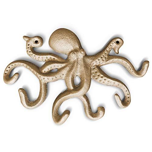 "Gold Cast Iron Decorative Octopus Hook Wall, 10.5"""
