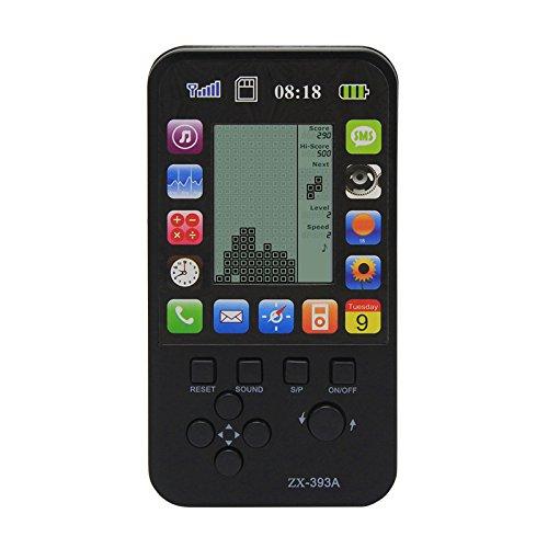 CZT Nuevo Apple Skin Kids Consola para Niños Juguetes Retro Tetris Game Console Clásico Inteligente Juguetes Handheld Incorporado 23 Juegos (Black)