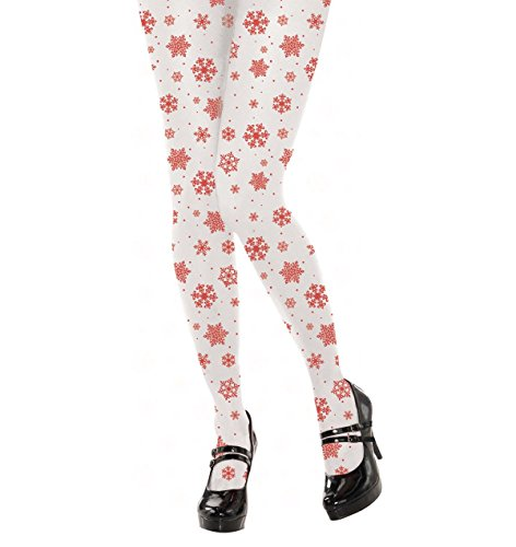 amscan 392297 Christmas Red Snowflakes White Stocking, Adult Size