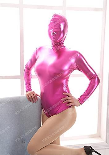 SMGZC Mujer Sexy Aspecto Mojado Patentar Cuero Catsuit Látex Mono Ajustado Brillante PVC Body Playsuit Cremallera Entrepierna Abierta Club Nocturno Etapa DS Ropa (L,Rose Red)