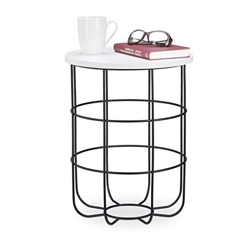 Relaxdays, wit-zwart ronde bijzettafel met metalen mand, decoratieve salontafel, moderne woonkamertafel, 45 cm hoog, design B