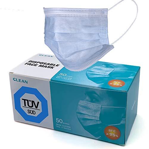 50x TÜV geprüfte Einweg Masken EN14683 mit 95% BFE - von Guangzhou Clean Medical - Gesichtsmaske - Einwegmaske Mundschutz Staubschutz mit Ohrschlaufen @Anytrade