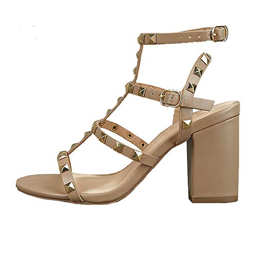 Wild Diva Womens Pointy Toe Gold Stud Strappy Ankle T-Strap Stiletto Heel Pump Sandal (6, Natural Sandal)