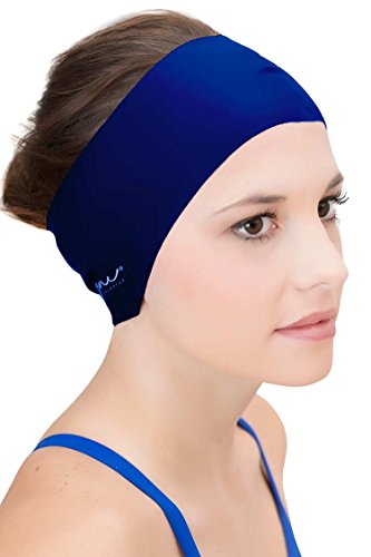 Sync Hair Guard & Ear Guard Headband - Wear Under Swim Caps as Water Repellent Navy