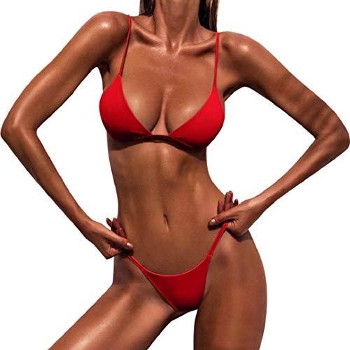 Heekpek Badeanzug, Push-Up-Bikini, gepolstert, für den Sommer, gestreift, Rot L