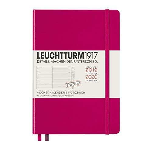 LEUCHTTURM1917 360054 Wochenkalender & Notizbuch Medium (A5) 2020, mit Extraheft, 18 Monate, Beere, Deutsch