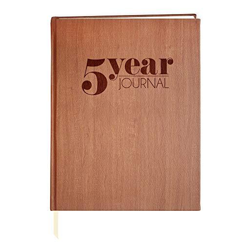 BookFactory JOU-368-SCS-AXE94000 5 Jahre Tagebuch/LogBook, weiches Holz-Finish, 100 Seiten, 20,3 x 25,4 cm