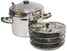 Tabakh 5-Rack Stainless Steel Idli Cooker with Strong Handles, Silver, Medium, IC-205