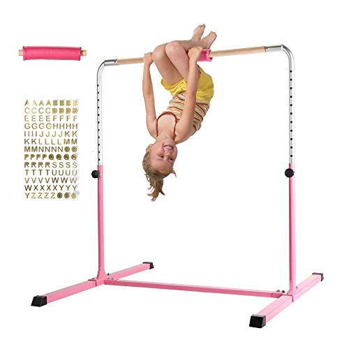 Z ZELUS Gymnastics Training Bar Horizontal Bar Athletic Teens Adjustable Gymnastics Children's & Junior Training Kip Bars Pink Height Adjustable 36'' to 60'' (Pro Design with Protective Pad)